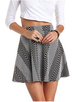 chevron-patterned-skater-skirt by charlotte-russe