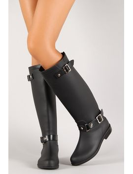 buckled-straps-zip-up-knee-high-rain-boot by urbanog
