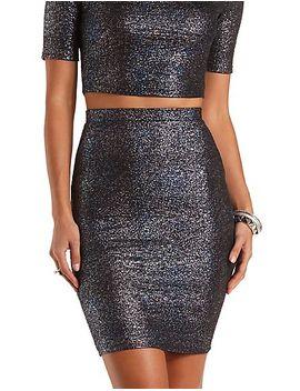 iridescent-metallic-pencil-skirt by charlotte-russe