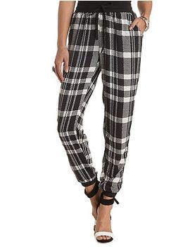 plaid-chiffon-jogger-pants by charlotte-russe