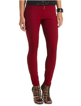 ruched-zip-up-high-waisted-skinny-pants by charlotte-russe