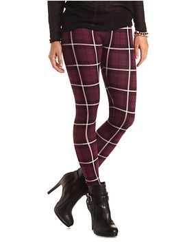 cotton-plaid-leggings by charlotte-russe