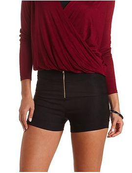 high-waisted-shorts-with-zipper by charlotte-russe