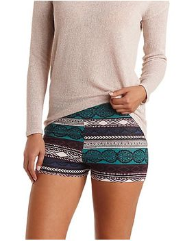 high-waisted-aztec-bike-shorts by charlotte-russe