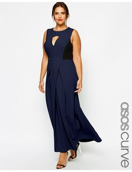 asos-curve-exclusive-maxi-dress-with-pleat-front-and-cut-out by asos-curve