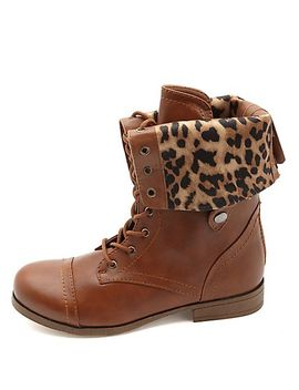 cheetah-lined-fold-over-combat-boots by charlotte-russe