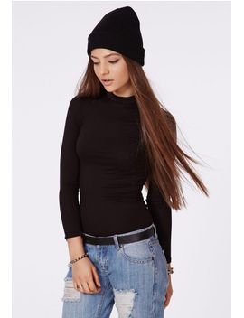 eleanor-long-sleeve-jersey-turtle-neck-black by missguided