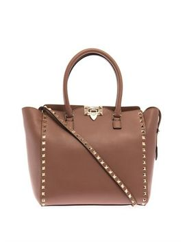 rockstud-double-handle-small-tote-(211647) by valentino