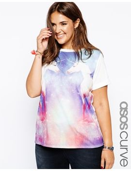 asos-curve-exclusive-t-shirt-with-unicorn-print by asos-curve