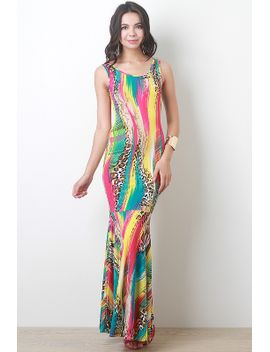 leopard-print-rainbow-mermaid-maxi-dress by urbanog