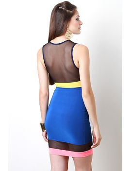 mesh-insert-colorblock-dress by urbanog