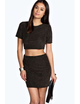 grace-glitter-crop-top-and-mini-skirt-co-ord by boohoo