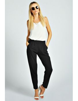 tate-crepe-pleat-front-trouser by boohoo