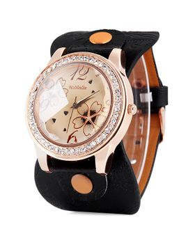 womage-9965-3-quartz-watch-with-diamond-flower-leather-watchband-for-women by sammy-dress