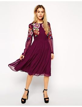 asos-premium-skater-dress-with-large-floral-embroidery by asos-collection