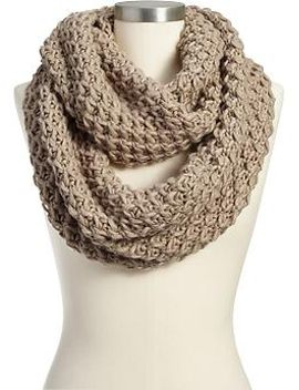 womens-chunky-knit-infinity-scarves by old-navy
