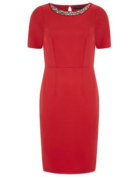 red-embellished-pencil-dress by dorothy-perkins