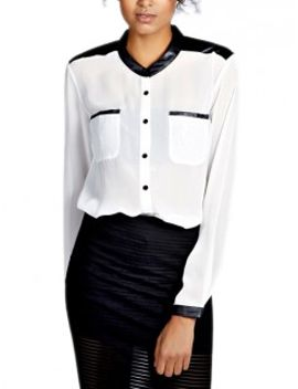 white-chiffon-leather-panel-long-sleeves-shirt by choies