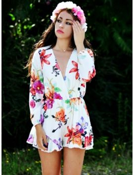 cream-floral-print-long-sleeve-romper-playsuit by choies