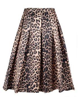 leopard-print-silky-midi-skater-skirt by choies