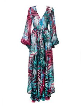 tropical-print-wrap-long-sleeve-maxi-dress by choies