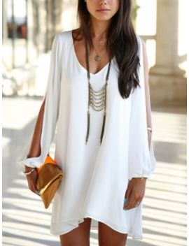 white-slit-sleeve-chiffon-hi-lo-dress by choies