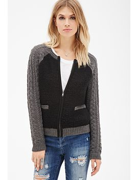 raglan-cable-knit-cardigan by forever-21
