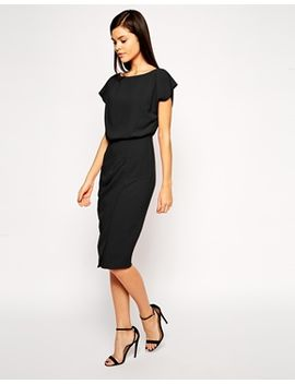 asos-pencil-dress-with-shell-top-and-split-front by asos-collection