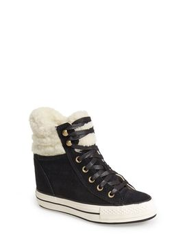 chuck-taylor®-all-star®-faux-shearling-high-top-platform-sneaker by converse