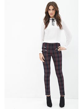 zippered-tartan-plaid-pants by forever-21