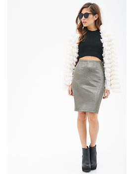 textured-metallic-pencil-skirt by forever-21