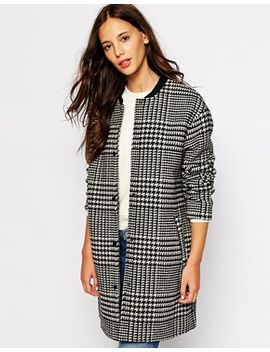pull&bear-dogtooth-collarless-coat by pull&bear