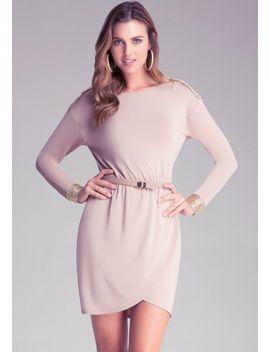 embellished-shoulder-dress by bebe