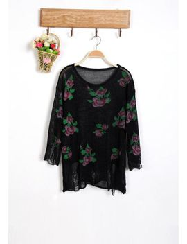 floral-frayed-cuffs-top-black by lookbook-store