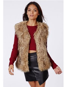 ayla-faux-fur-vest-brown by missguided