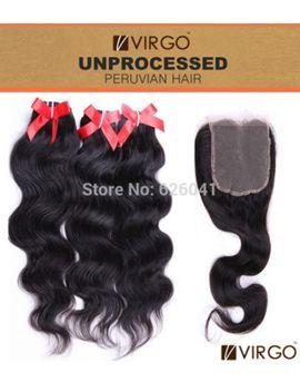 cheap-3pcs-peruvian-virgin-hair-with-1pcs-lace-closure-virgo-rosa-hair-products-100-percents-human-hair-weaves-body-wave-peruvian-hair by ali-express