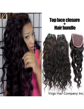 peruvian-virgin-hair-natural-water-wave-1pcs-top-lace-closure-with-3bundles-hair-weaves-rosa-hair-products-virgin-peruvian-hair by ali-express