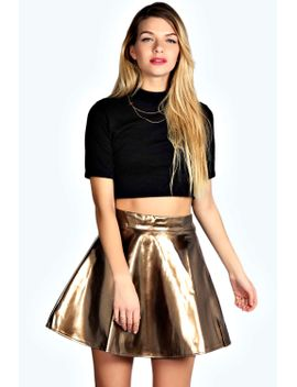 bella-patent-full-circle-skater-skirt by boohoo