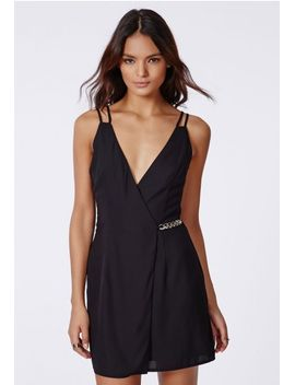 crepe-gold-chain-shift-dress-black by missguided