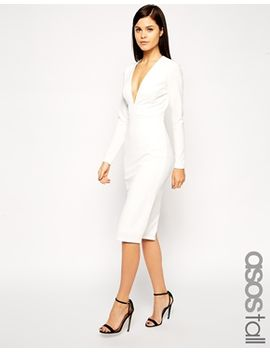 asos-tall-textured-crepe-super-plunge-midi-dress by asos-tall