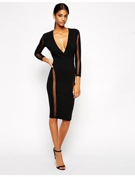 tfnc-body-conscious-dress-with-spot-mesh-inserts by tfnc