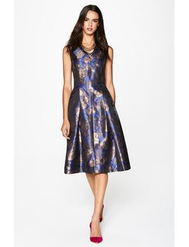 metallic-jacquard-fit-&-flare-midi-dress by tahari