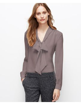 tall-silk-tie-neck-blouse by ann-taylor