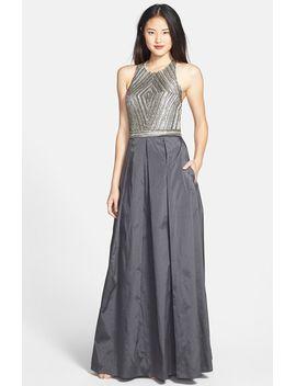 beaded-halter-taffeta-a-line-gown by aidan-mattox