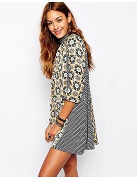 native-rose-a-line-dress-with-high-neck-in-polynesian-block-print by native-rose