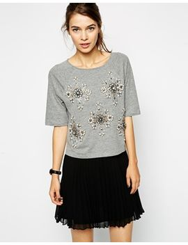 asos-top-with-placement-embellishment by asos-collection