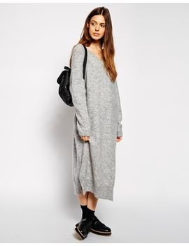 asos-oversized-jumper-dress-with-v-neck-in-mohair-wool-mix by asos-collection