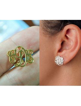 sterling-silver-monogram-stud-earrings,initial-stud-earrings,personalized-monogram-earrings,monogrammed-gifts,monogram-jewelry-e001 by monogramforyou2014
