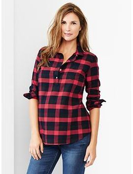 buffalo-plaid-flannel-popover-shirt by gap