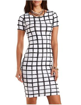 bodycon-windowpane-check-midi-dress by charlotte-russe